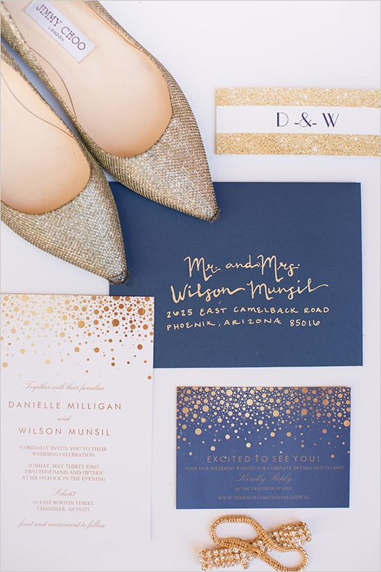 navy and gold modern wedding invitations