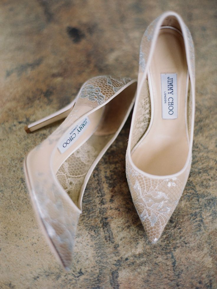 sheer lace Jimmy Choo wedding shoes