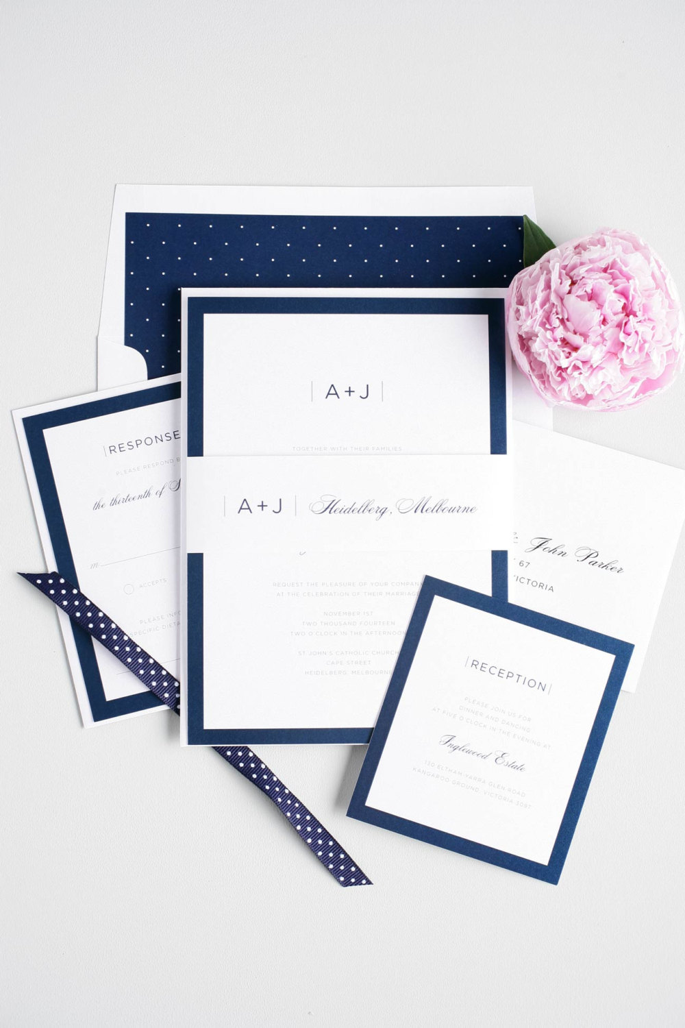 navy and white modern wedding invitation suite