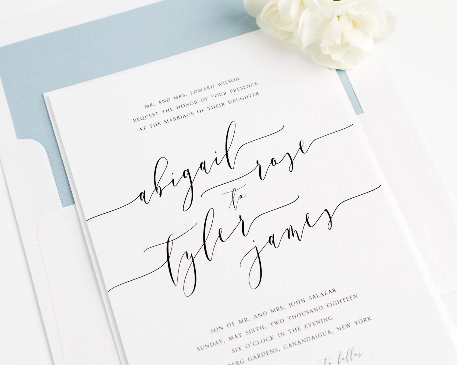 modern white and sky blue wedding invitations