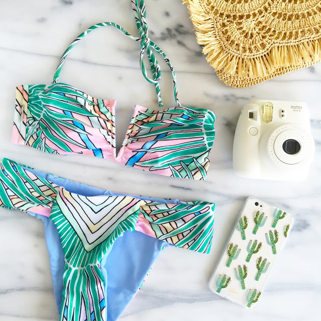 revolve bikini, white camera, cactus iphone case