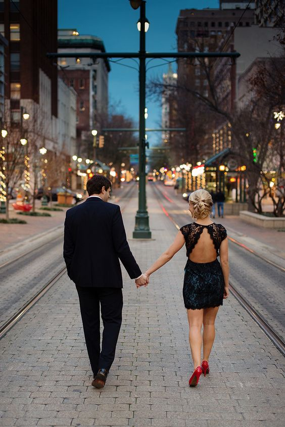 evening formal engagement photo shots
