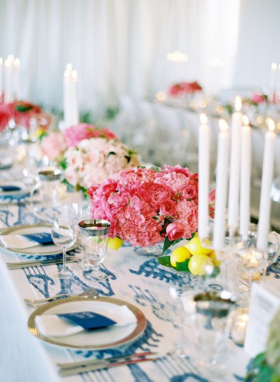 modern blue and white print table runner and pink peonies bouquets