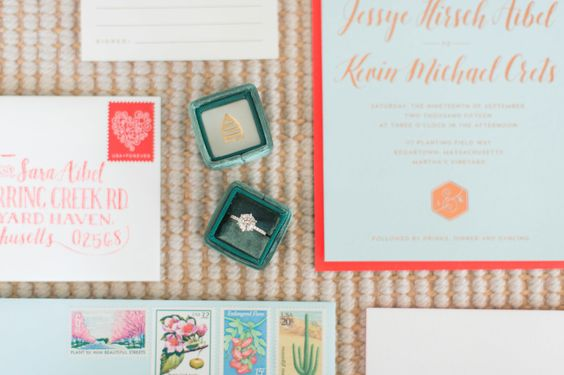 wedding detail shot with invitations and engagement ring