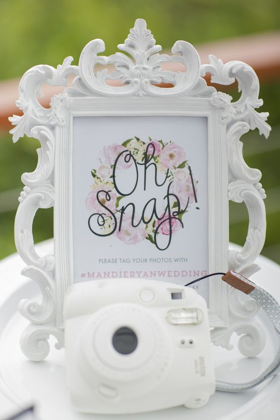 oh snap! sign for social media hashtag for your wedding