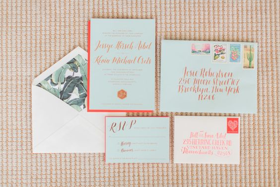 modern wedding invitations with banana leaf print