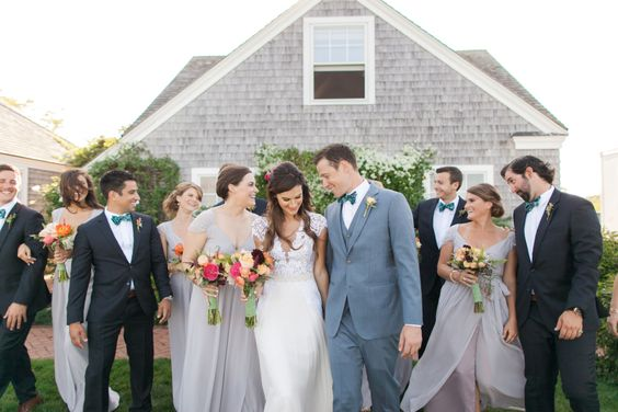 preppy bridal party in bow ties and long dresses