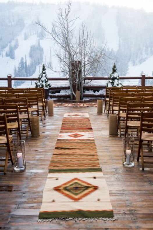 snowy wedding ceremony and backdrop