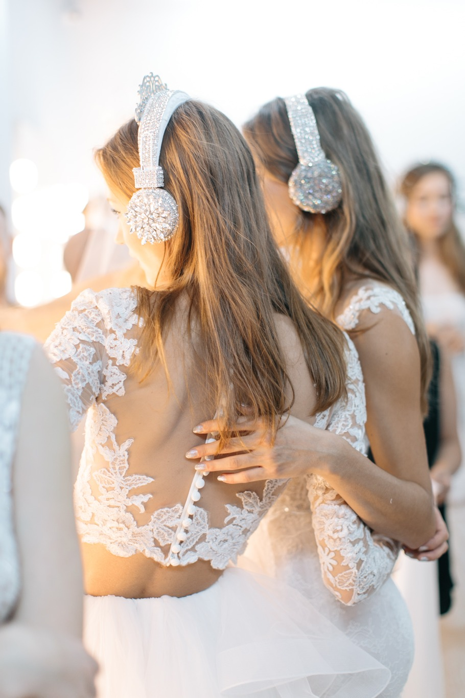 reem acra backstage bridal fashion show