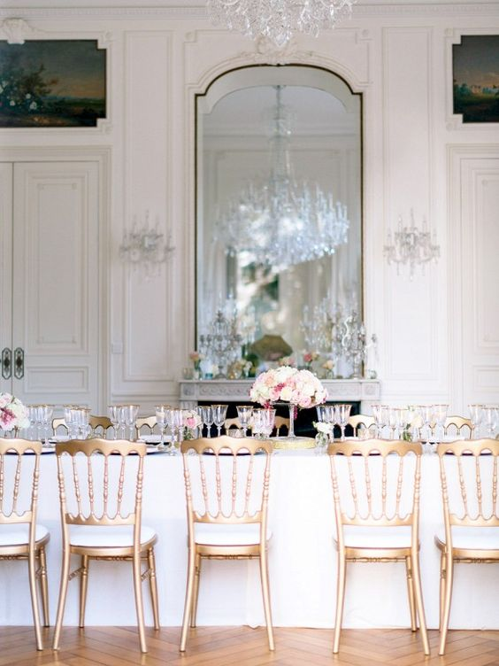 white, pink and gold wedding reception