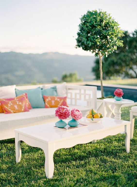 modern white wedding cocktail hour furniture