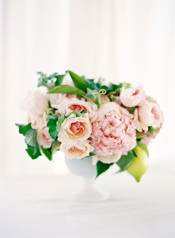 pink peonies wedding reception arrangement