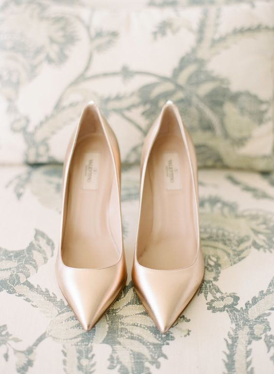 gold valentino wedding shoes