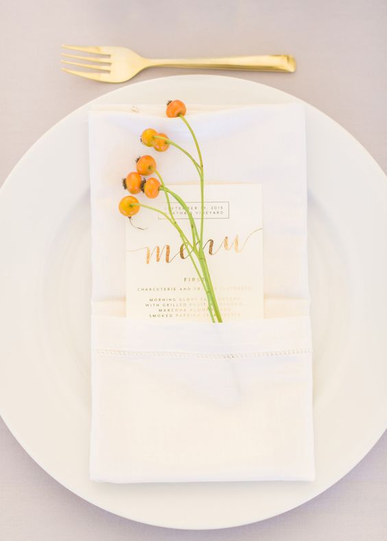 white and gold wedding menu cards