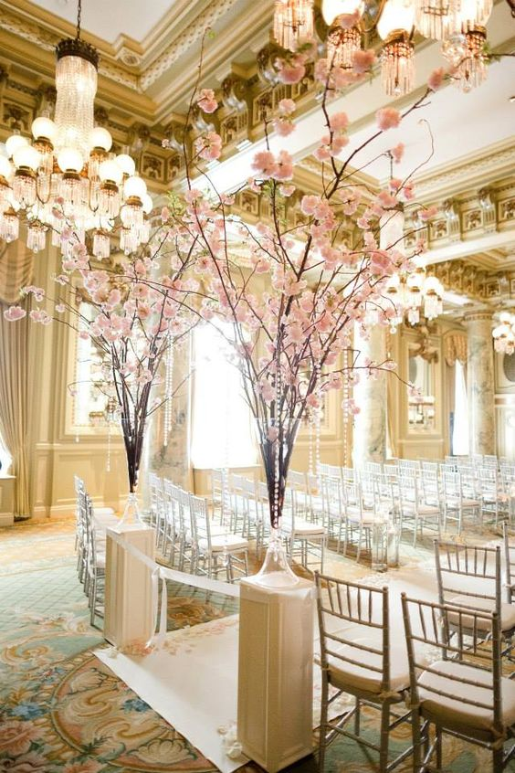 pink ceremony entrance flowers, cherry blossom wedding