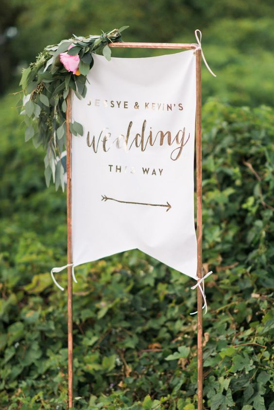 wedding this way flag sign
