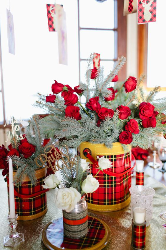 winter-rose-bouquet-with-evergreen-in-flannel-print-bucket