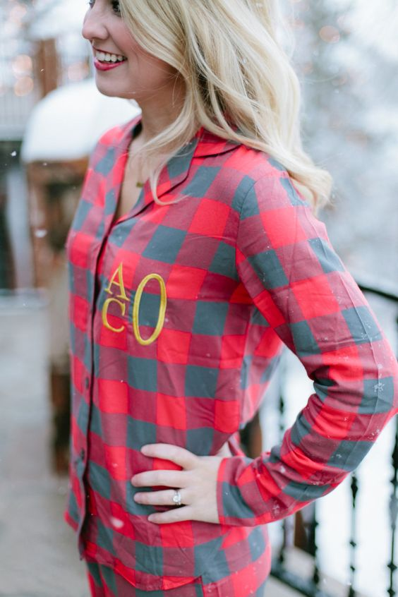 flannel print pjs with monogram