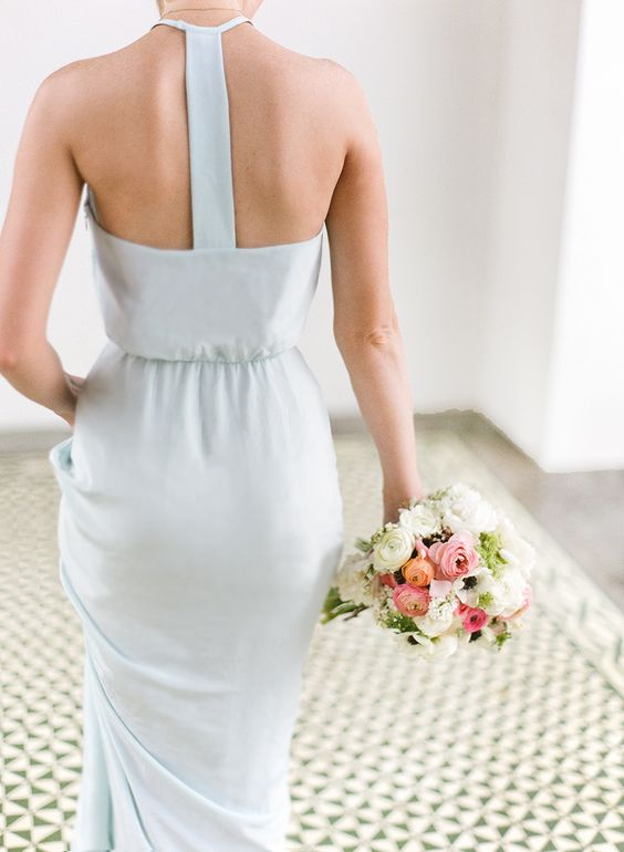 modern blue bridesmaids dress