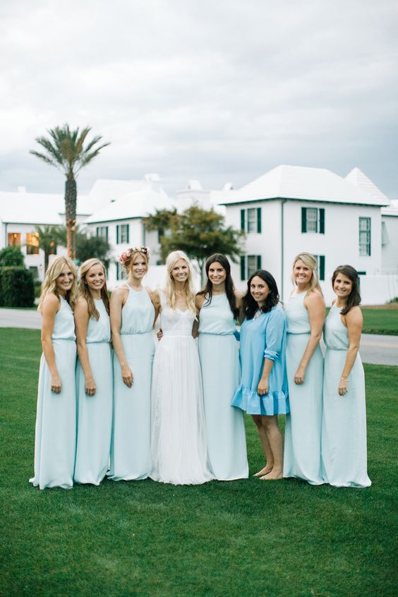 trendy-light-blue-bridesmaids-dresses
