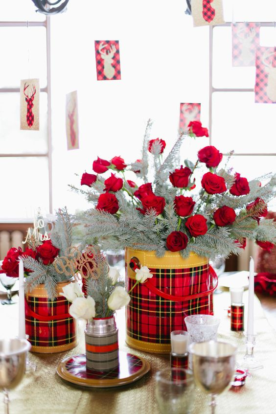red-roses-in-flannel-print-buckets