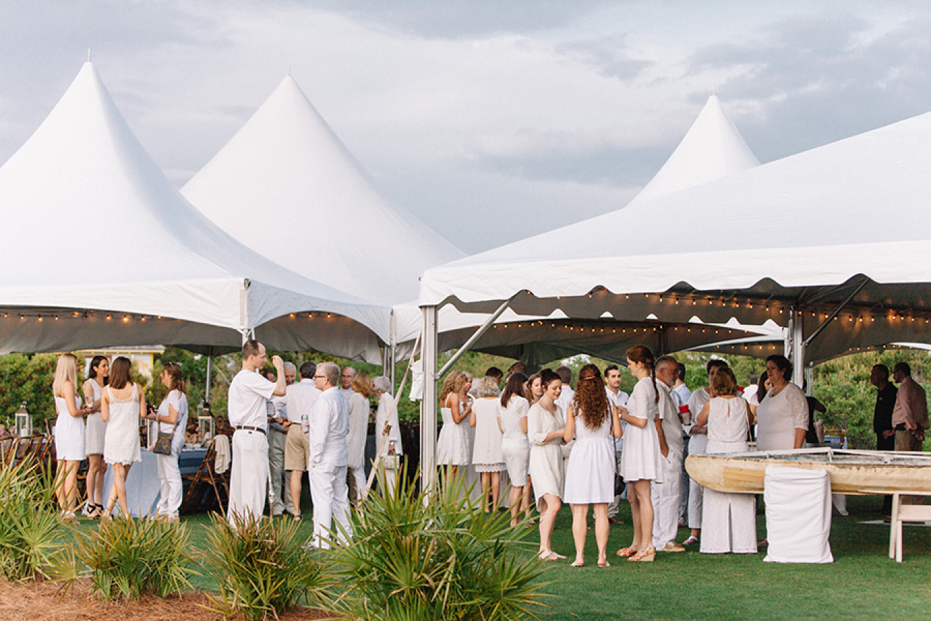 white-party-under-marquee-tent http://itgirlweddings.com/white-party-rehearsal-dinner/
