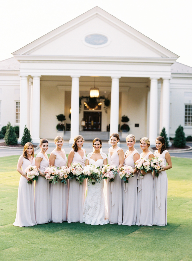 bridal-party-in-front-of-southern-plantation-formal-shot http://itgirlweddings.com/southern-white-tie-wedding/