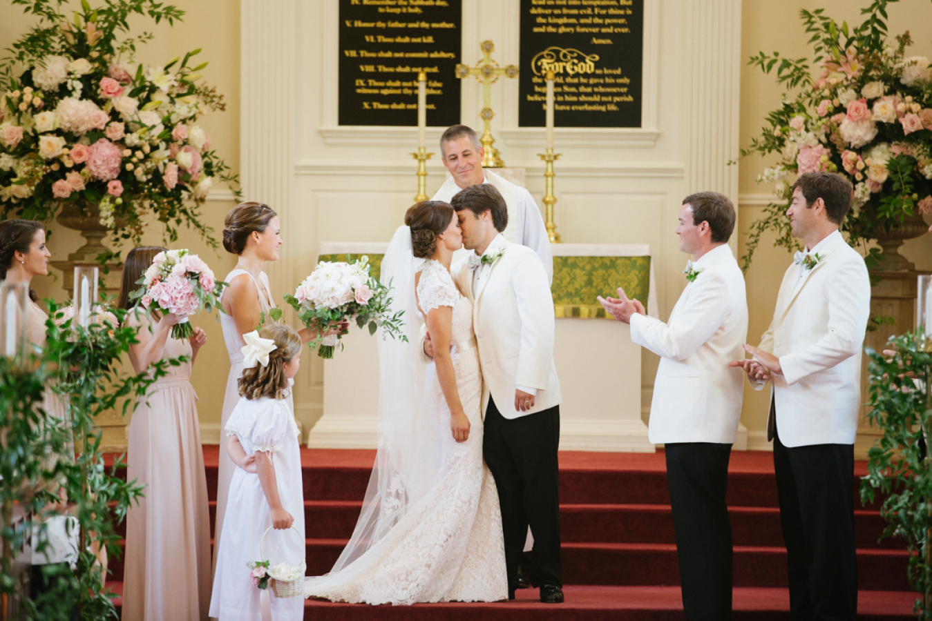 white-grooms-jackets-black-pants http://itgirlweddings.com/southern-white-tie-wedding/