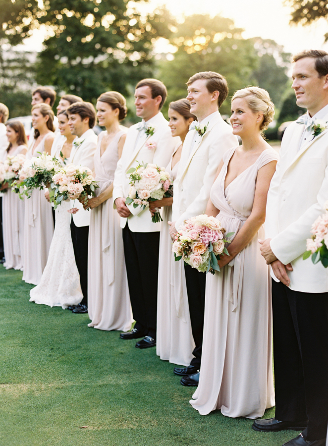 white-tie-wedding-foral-bridal-party-shot http://itgirlweddings.com/southern-white-tie-wedding/