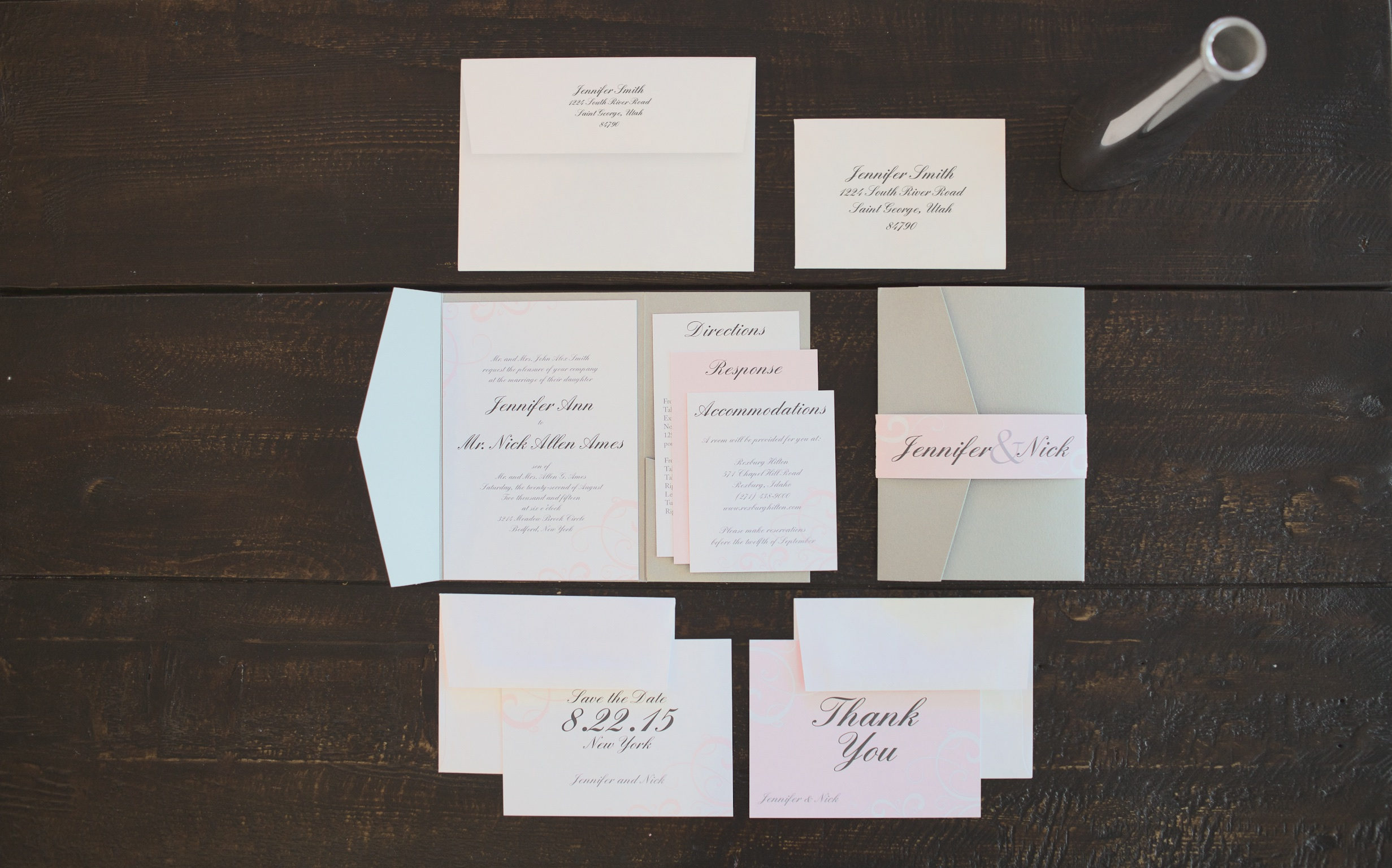 grey-pink-wedding-invitations http://itgirlweddings.com/new-collections-from-basic-invite/