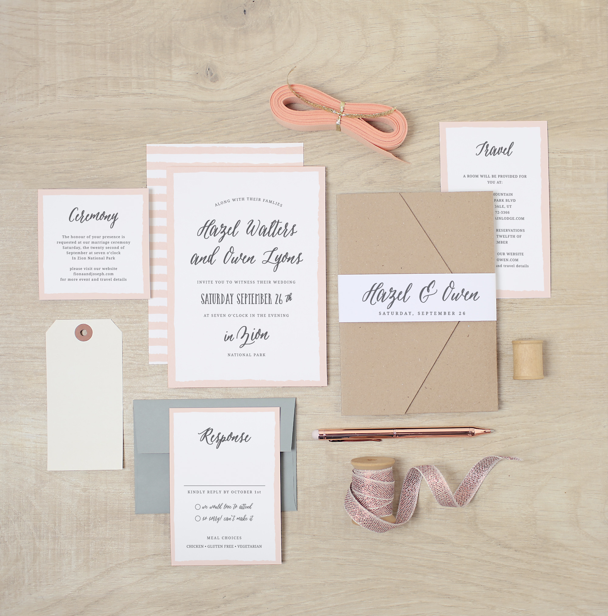 pink-white-stripe-wedding-invitations http://itgirlweddings.com/new-collections-from-basic-invite/
