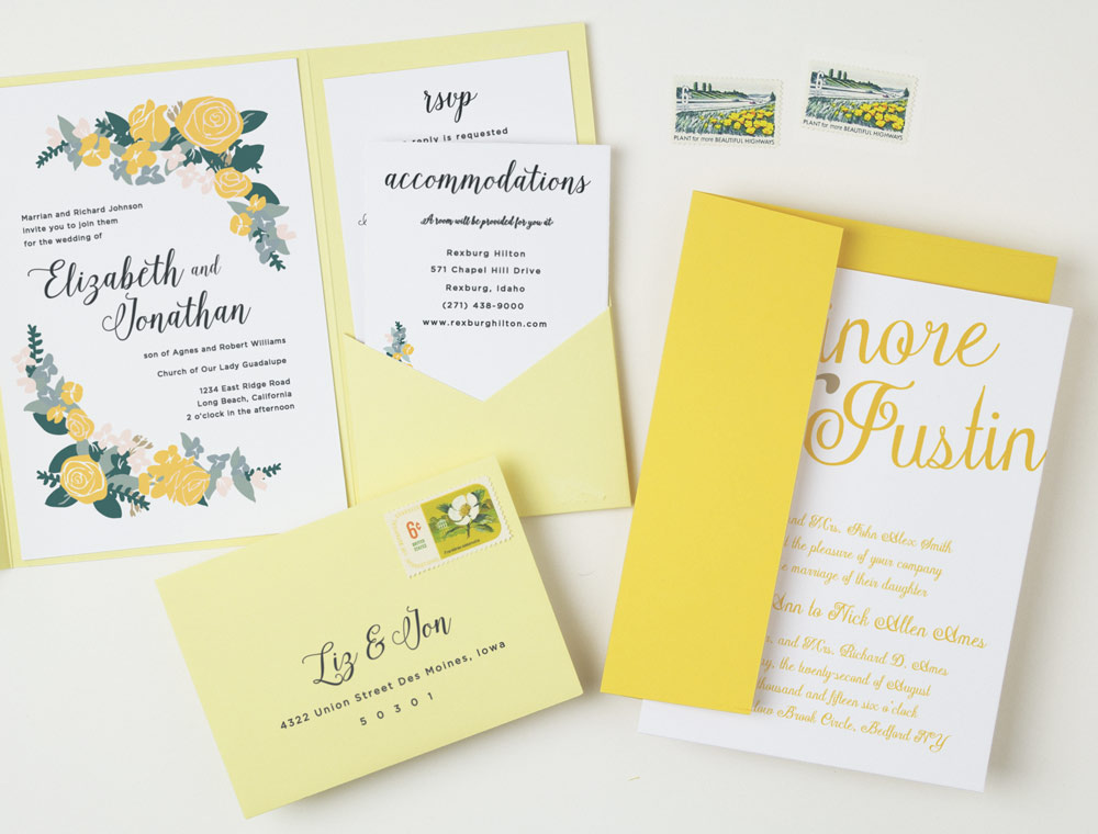 yellow-floral-wedding-invitations http://itgirlweddings.com/new-collections-from-basic-invite/