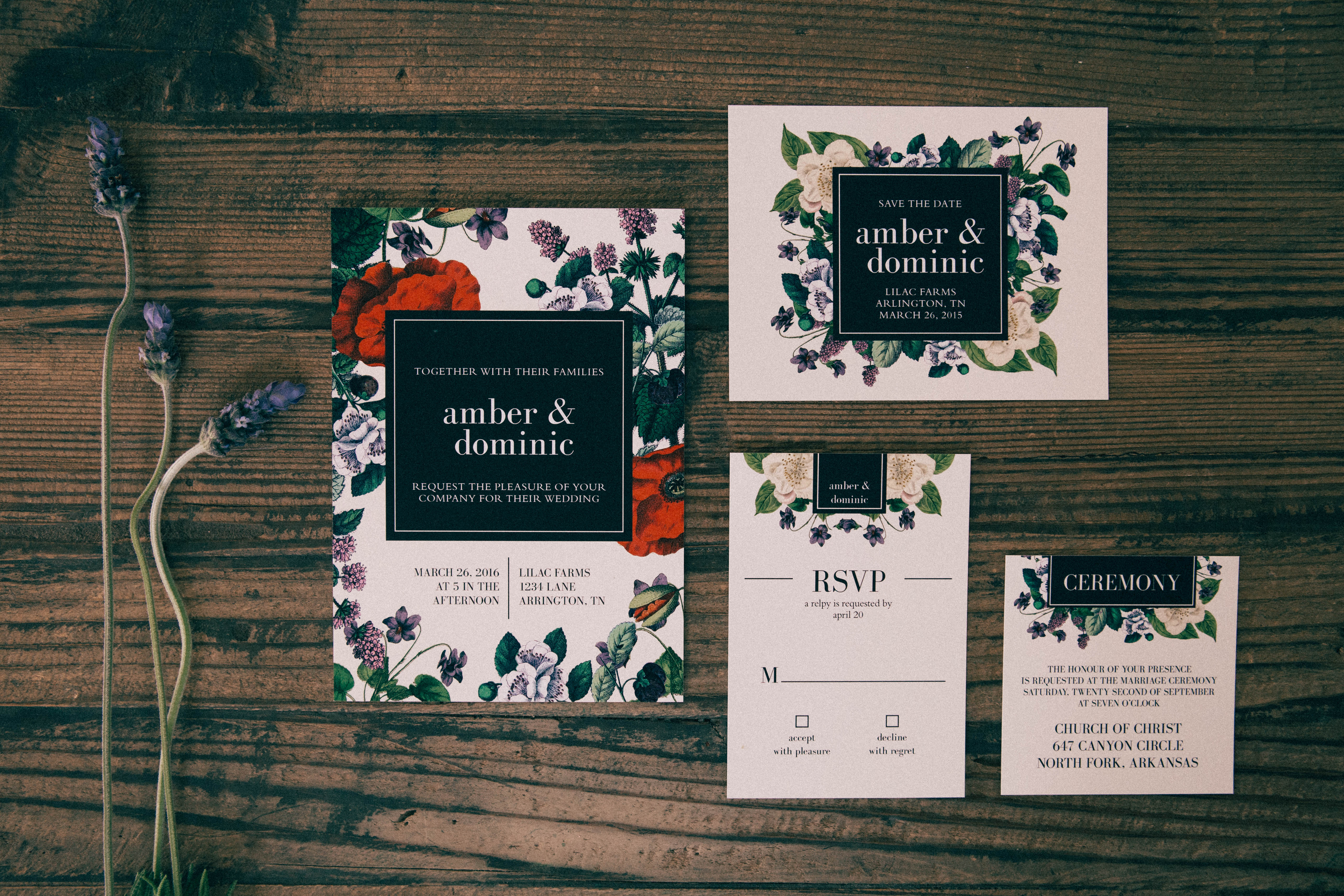 red-green-floral-wedding-invitations http://itgirlweddings.com/new-collections-from-basic-invite/