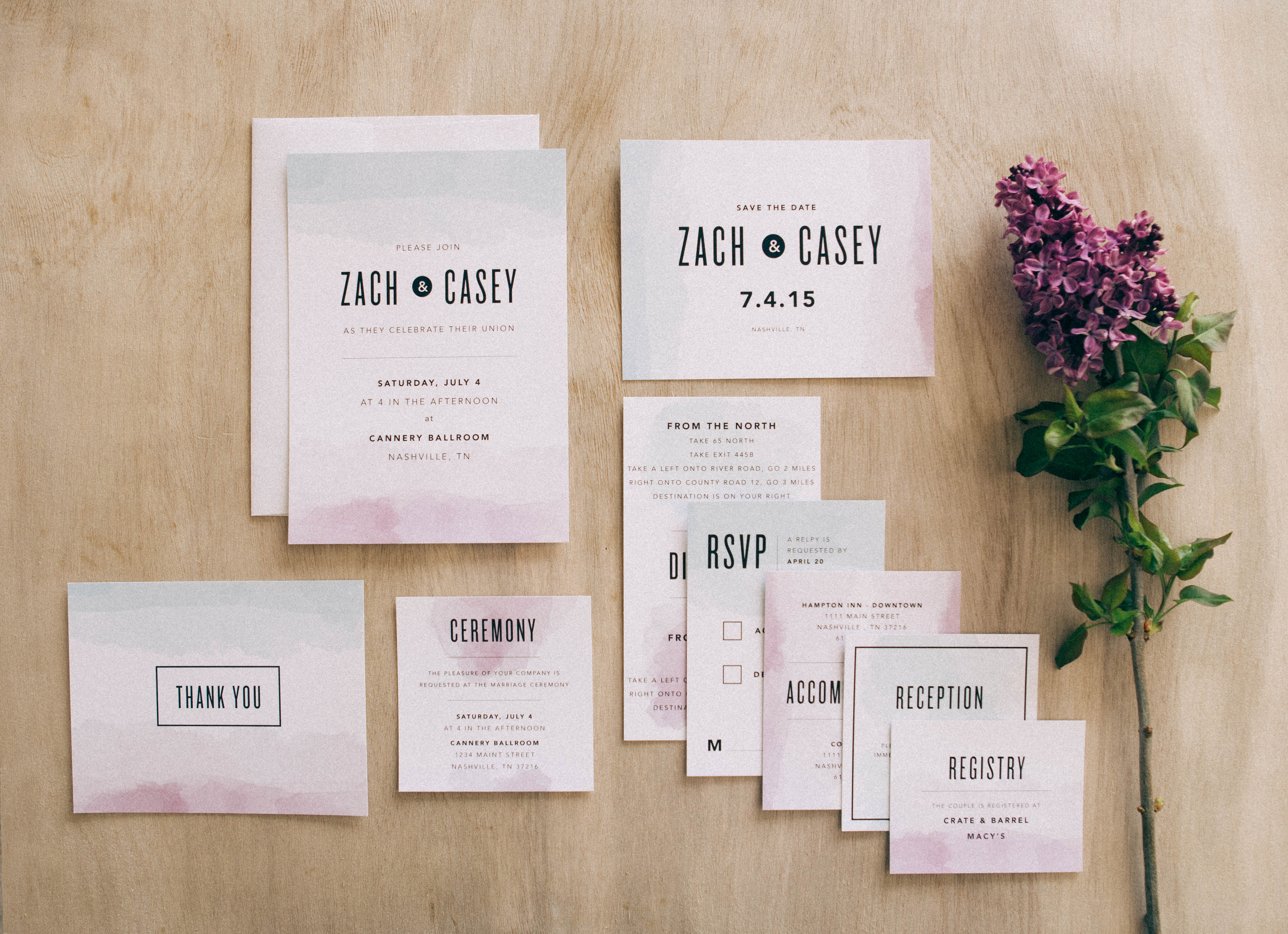 modern-watercolor-wedding-invitations http://itgirlweddings.com/new-collections-from-basic-invite/