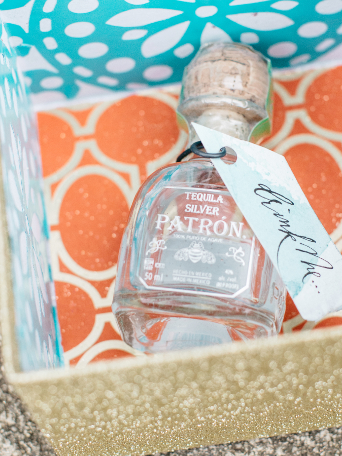 mini-patron-silver-bottles-fiesta-party http://itgirlweddings.com/fiesta-themed-engagement-party/