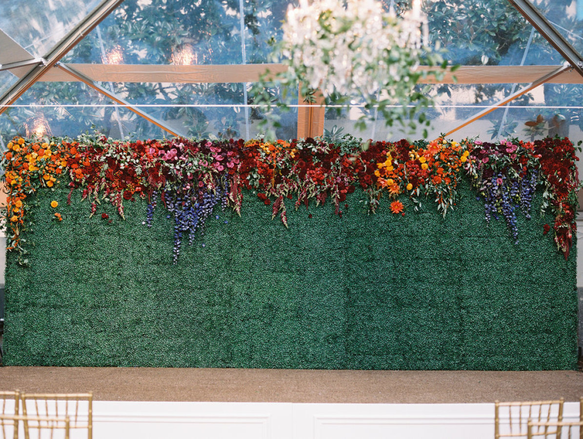 ombre flower wall wedding