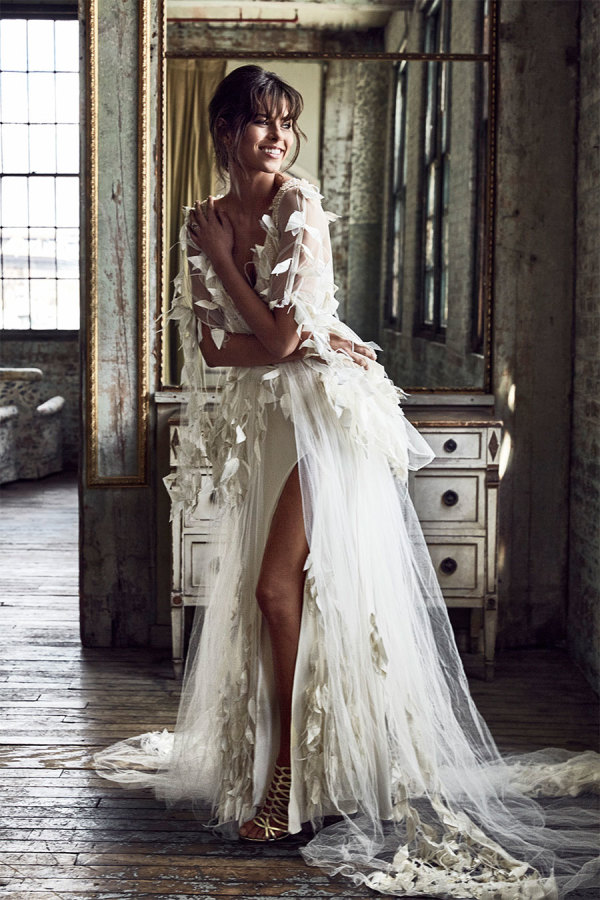 tulle-feather-wedding-dress http://itgirlweddings.com/new-collection-from-grace-loves-lace/