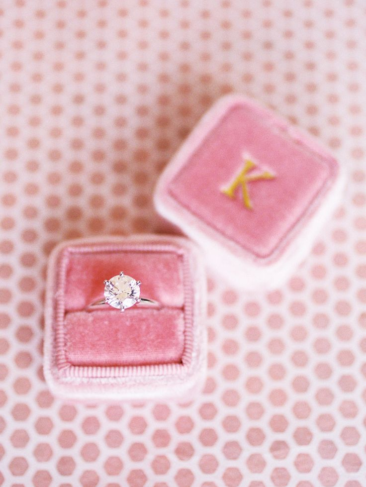 engagement ring in pink velvet custom ring box, solitare diamond ring