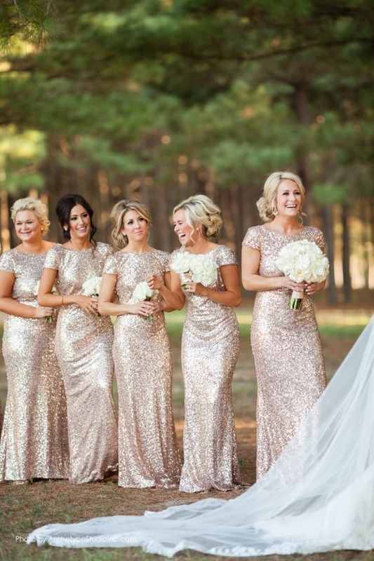 single bridesmaids in gold sequin bridesmaids dresses http://itgirlweddings.com/singles-table/