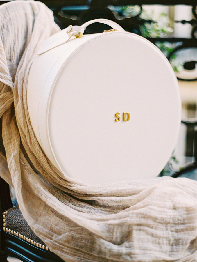 custom-white-hat-box-with-gold-initials http://itgirlweddings.com/parisian-wedding-inspiration/