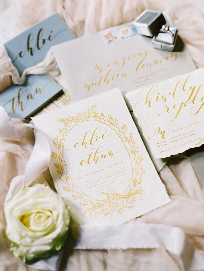 gold-Calligraphy-wedding-invitations http://itgirlweddings.com/parisian-wedding-inspiration/