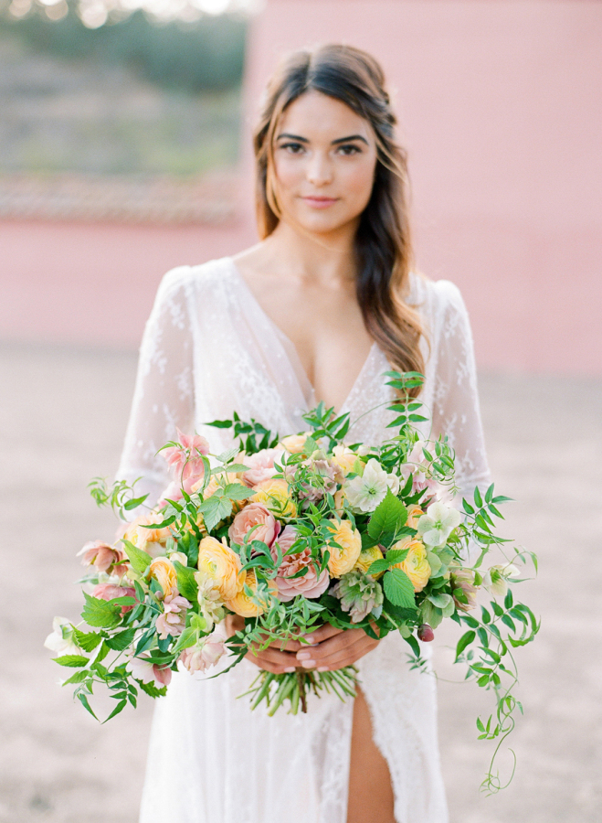 pink-yellow-wedding-flowers http://itgirlweddings.com/elopement-inspiration/