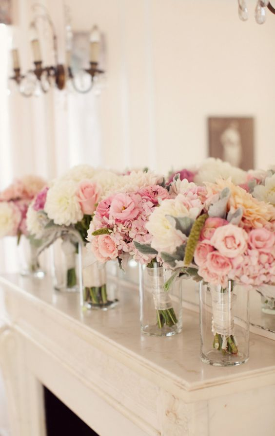bridesmaids-bouquets-in-vases http://itgirlweddings.com/9-quick-tips-keep-flawless-wedding-day/