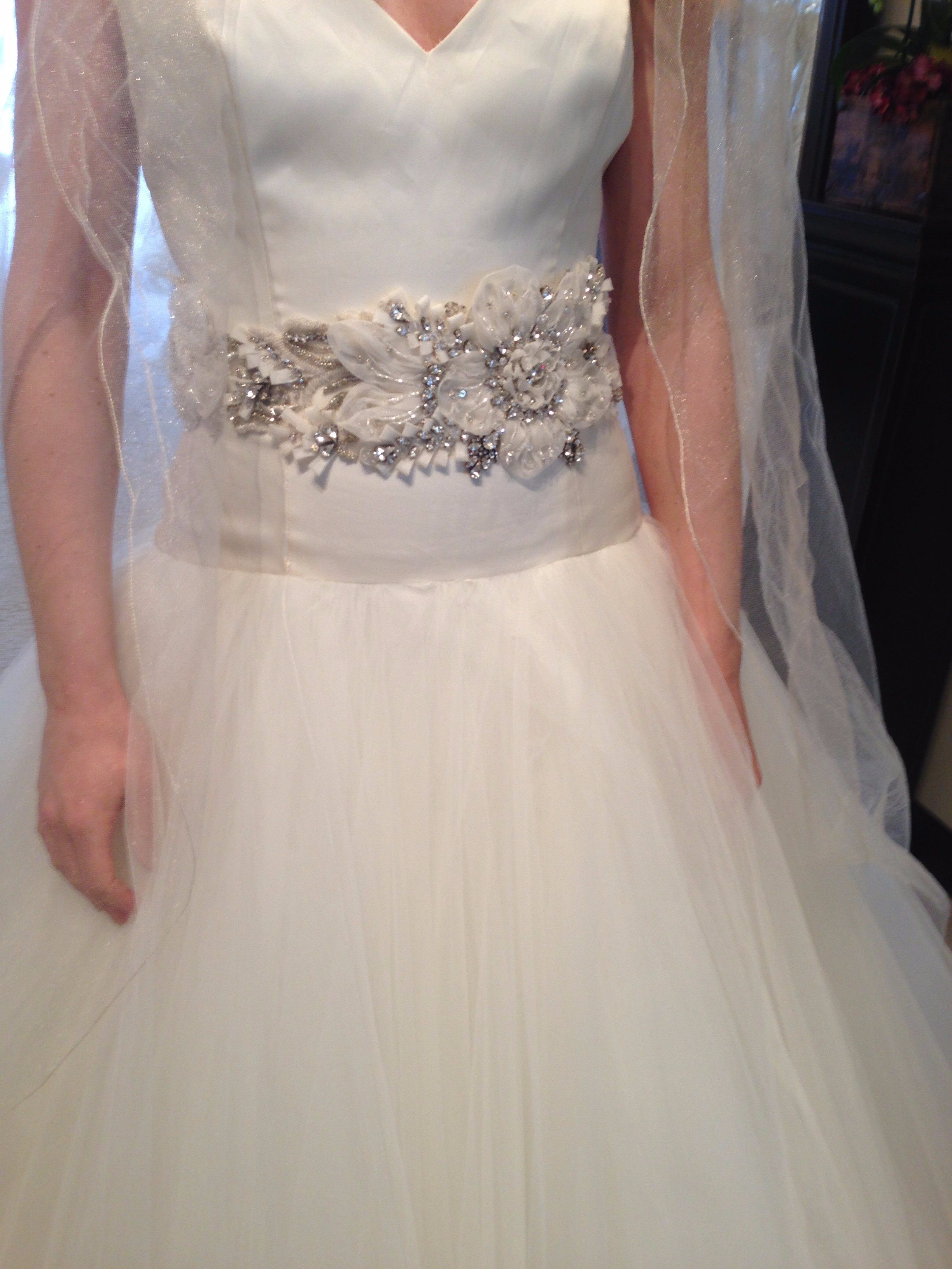 lazaro wedding dress with sweetheart neckline, ballgown dress with beaded belt http://itgirlweddings.com/amazing-moments-that-make-us-sweat/