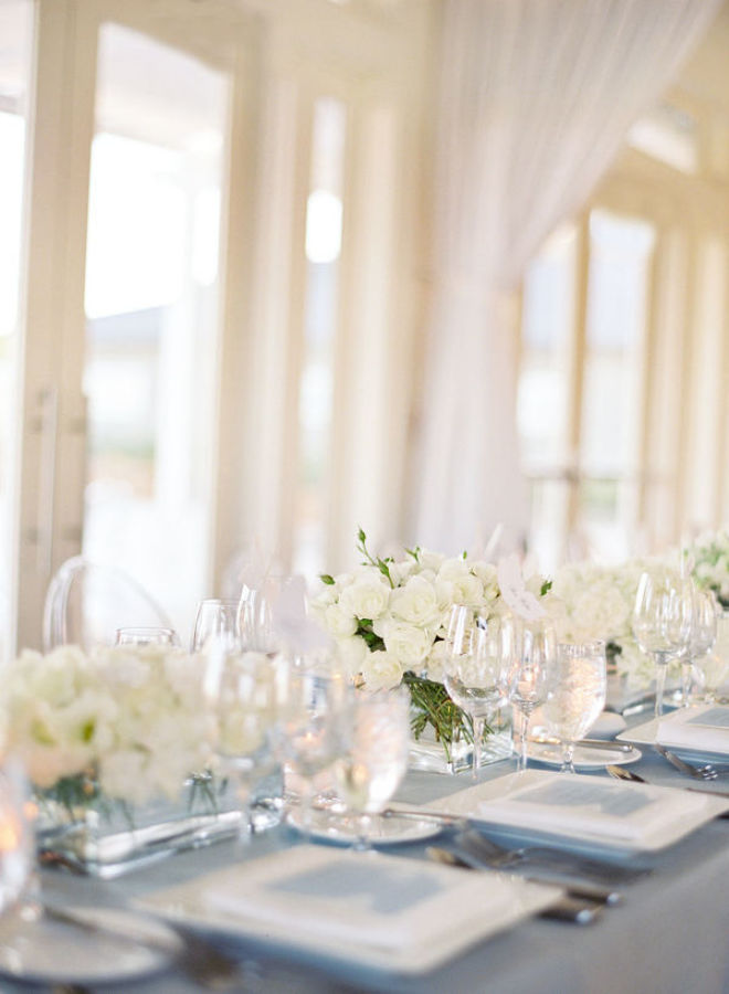 pale blue and white wedding reception http://itgirlweddings.com/modern-napa-valley-wedding/