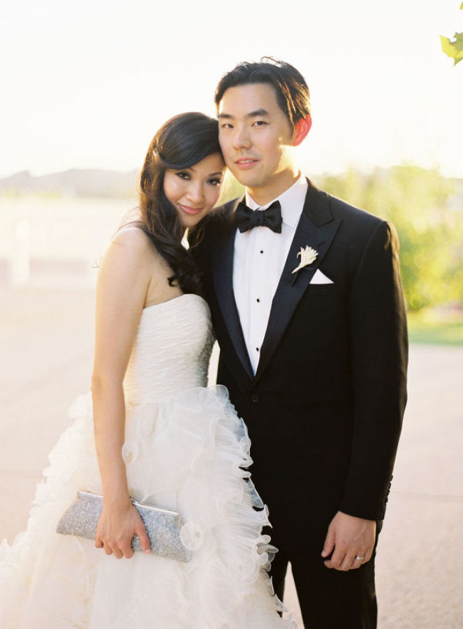 a line wedding dress with full skirt http://itgirlweddings.com/modern-napa-valley-wedding/