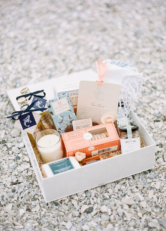 wedding welcome gift box http://itgirlweddings.com/wedding-planning-timeline/champagne