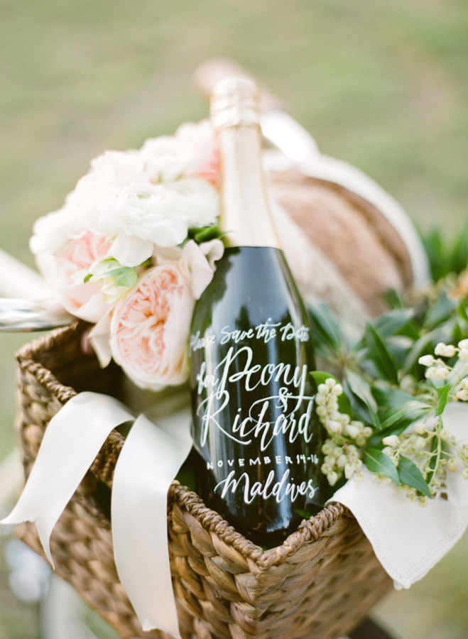 custom wedding wine bottle http://itgirlweddings.com/guide-to-your-save-the-dates/