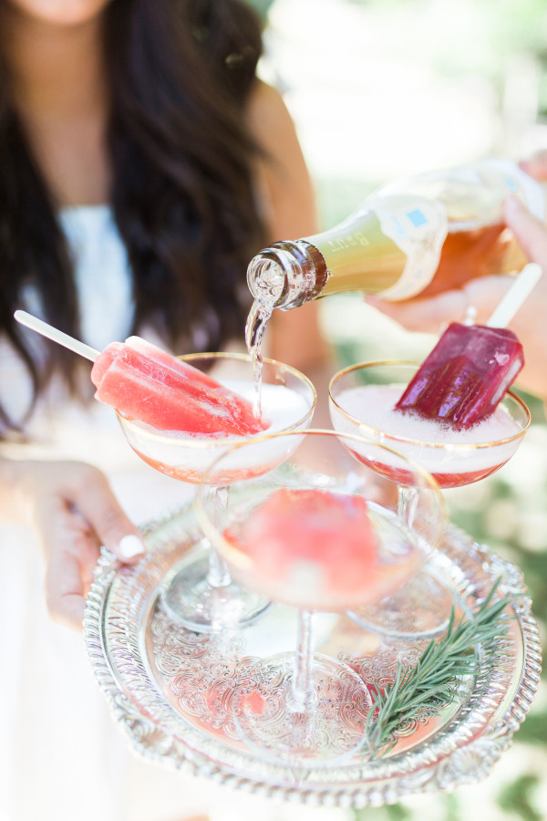 Popsicles in champagne glasses http://itgirlweddings.com/wedding-planning-timeline/champagne