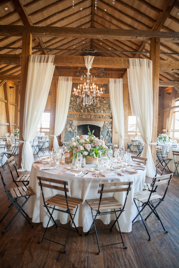 wedding reception with curtains http://itgirlweddings.com/romantic-mountain-wedding/